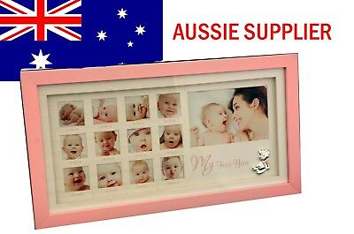 Baby First Year Pink Gallery Photo Frame Baby Girl Gift Present