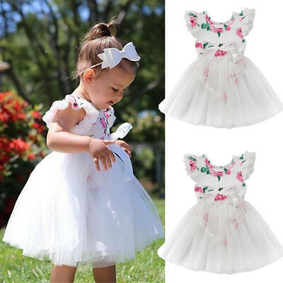 Cute Baby Girl Birthday Party Dress Floral Romper Tutu Skirt Outfit Clothes Set