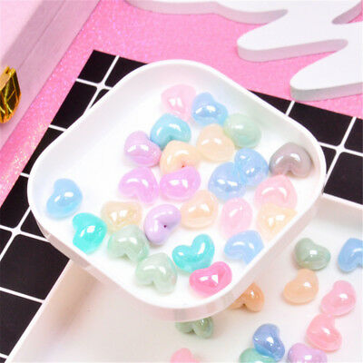 10 pcs Multi-colors 3D Heart Shaped Cabochon Slime Charm DIY Jewelry Crafts