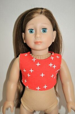 """American Girl Doll Our Generation Journey 18"""" Dolls Clothes Red Crop Top Only"""