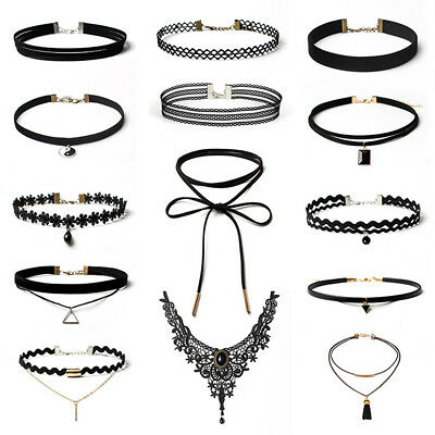 14PCS Womens Black Velvet Lace Tassel Gothic Tattoo Choker Necklace Adjustable