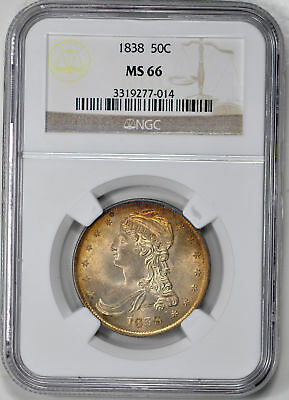 1838 Capped Bust 50C Ngc Ms 66