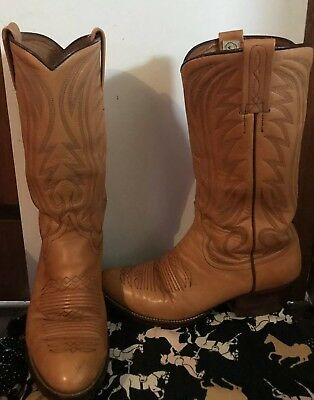 Vintage Nocona Tan Tooled Leather Boots - Made In Spain - Embroidery - 8D