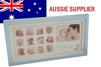 Baby First Year Blue Gallery Photo Frame Baby Boy Gift Present