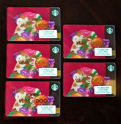 5 STARBUCKS 2018 Chinese Lunar New Year of DOG Gift CARDS Collectible