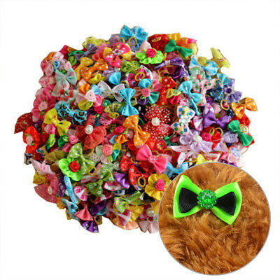 100pcs Hair Bows W/Rubber Bands For Small Dog Cat Grooming Bowknot Accessory