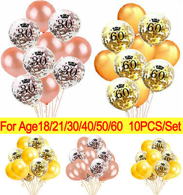 Rose Gold 18/21st/30/40/50/60/70th Happy Birthday Confetti Balloons Number Party