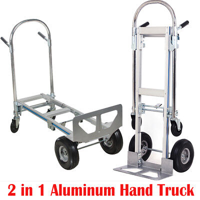 【US SHIP】2in1 Aluminum Hand Truck 770LBS Convertible Foldable Dolly 4 Wheel Cart
