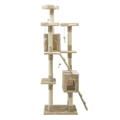 180cm Cat Scratching Tree Post Sisal Pole Toy House Furniture Multi Level Beige