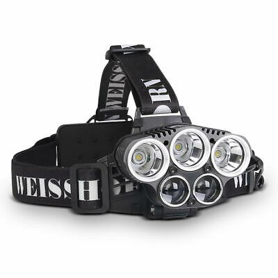 WEISSHORN LED Headlamp Rechargeable Head Light Lamp Torch 50000LM XML T6 Q5