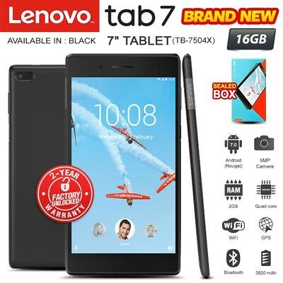 "New Factory Unlocked LENOVO Tab 7 TB-7504X 7"" Black Android PC Tablet (WiFi+4G)"