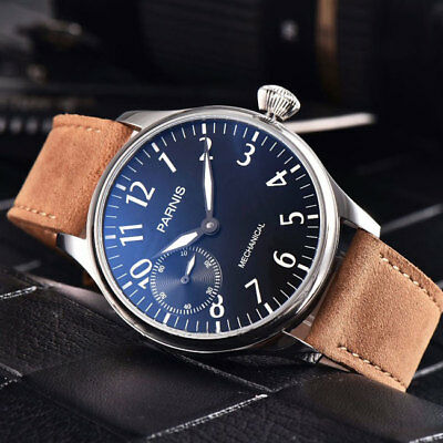 44mm PARNIS Black dial Luminous SS Case 6498 Hands Winding Movement men's Watch