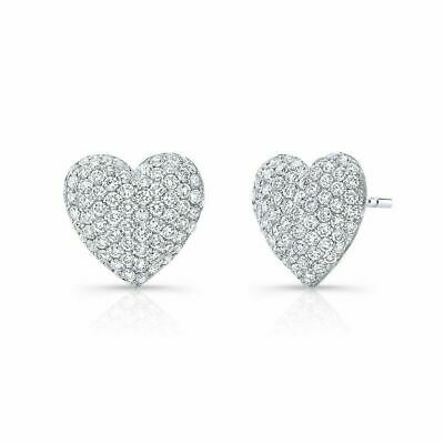 4Ct Round Cut Diamond Heart Shape Lovers Gift Stud Earrings 14K White Gold Over