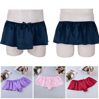 Mens Sissy Satin Lingerie Skirt Boxer Briefs Cross dress Panties Thong Underwear