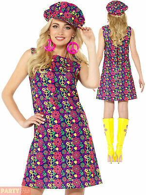Ladies 60s Psychedelic Hippie Costume Adults 70s Hippy Fancy Dress Womens Outfit