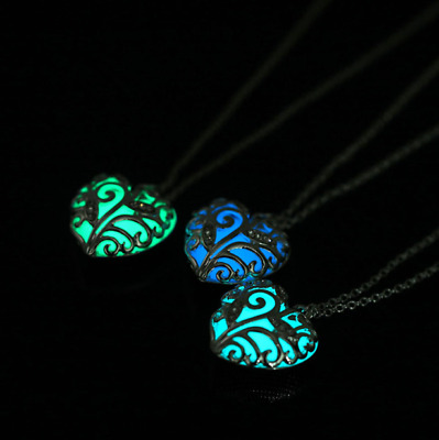 x3 Charm Luminous Crystal Heart Hollow Locket Glow In The Dark Pendant Necklace