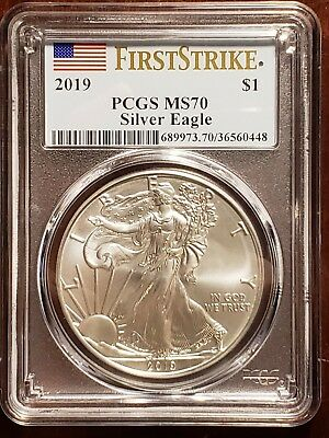 2019 1 oz Silver Eagle PCGS MS 70 First Strike Flag Label