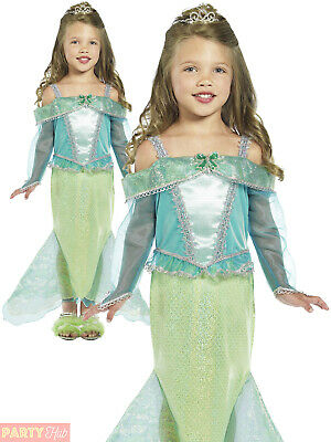 Girls Mermaid Princess Costume Childs Fairytale Book Week Day Fancy Dress Outfit
