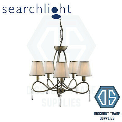 1035-5Ab Searchlight Simplicity Antique Brass 5 Light Fitting With Glass Drops