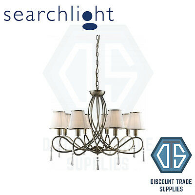 1038-8Ab Searchlight Simplicity Antique Brass 8 Light Fitting With Glass Drops