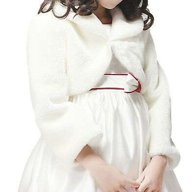 Bridesmaid Girl Faux Fur Long Sleeve Shrug/Wedding Bolero/Child Winter Coat/Cape