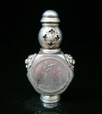 Collectible Handmade Carving Statue Copper Silver Snuff Bottles Eight Immortals