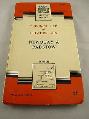 Vintage Ordnance Survey Map - Newquay & Padstow -  1 inch - no 185