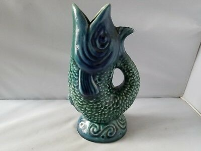 Vintage Gurgling Fish Pitcher Blue Green Ceramic Pot Home Kitchen Decor Vessel