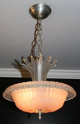 Antique pink glass art deco light fixture ceiling chandelier 1940s