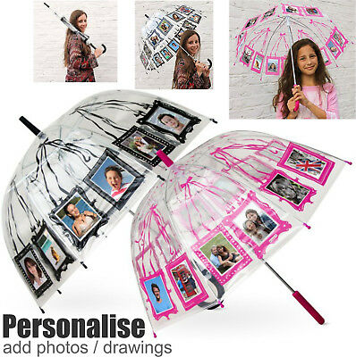 Childrens Adults Umbrella Fun Photo Personalise Dome Design Brolly Boys Girls