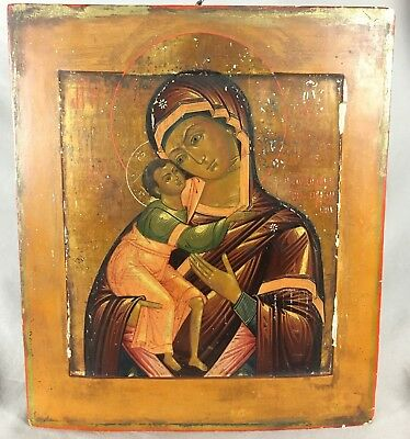 Russische IKONE 19 Jh. Mutter Gottes 35x30cm. Antique Russian Icon Mother of God