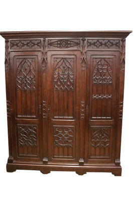 Beautifully Carved French Gothic Storage Cabinet, 19th Century, Oak