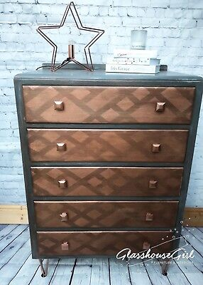 Shabby Chic Geometric Grey & Rose Gold / Copper Chest of Drawers
