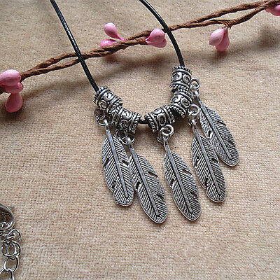 Packet of 10 - 100x Antique Silver Feather Tibetan 30mm Charms Pendants UK new