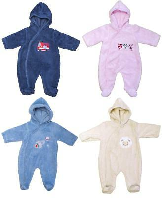Baby Pramsuit Fleece Hooded Fluffy Boys Girls Snow Suit Coat Newborn to 6 Months
