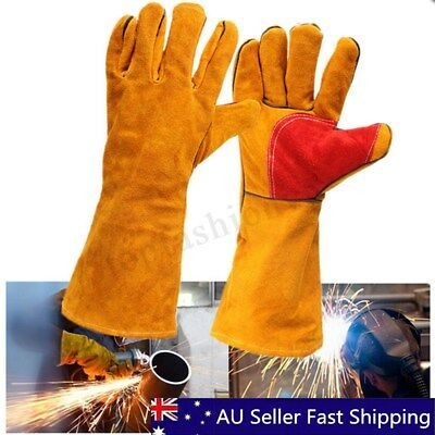 "16"" Welding Gauntlets Leather Gloves Heavy Duty Lined Reinforced Palm & Thumb"