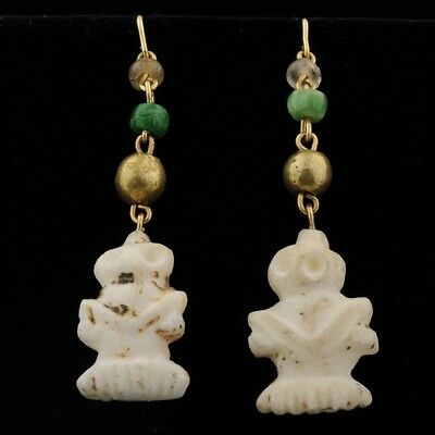 Antique Pre-Columbian Beads Earrings 14K Gold Jade Alabaster Figural Colima