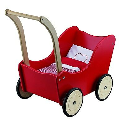 (Red) - New Classic Toys 10750 - Baby Dolls & Accessories - Doll Pram with