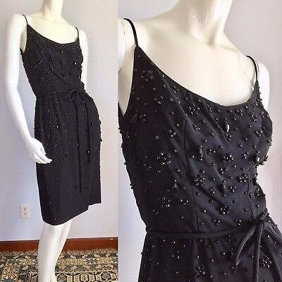 c46e84ae82f8 Vintage 1950s 50s Sexy Black Beaded Cocktail Wiggle Dress 1960s 60s XS