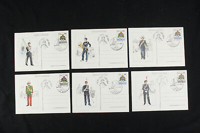 Lot of 6 (Full Set) Used San Marino Postal Card Soldier Military Guard - Scarce!