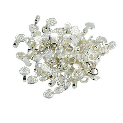 100pcs sHINY Silver White aLLOY Heart Glue On Bails Design Pendant 16x8mm