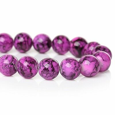 Magenta Pink Wholesale 10mm Round Crackle Glass Beads G0782 - 50 ,100 Or 200PCs