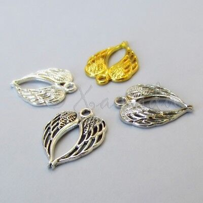 Angel Wings Charms Mix 22mm Silver Gold 4 pcs charms Set CM2591 - 4, 20 Or 40PCs