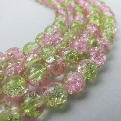 Pink And Green Wholesale 8mm Round Crackle Glass Beads G8504 - 50, 100 Or 200PCs