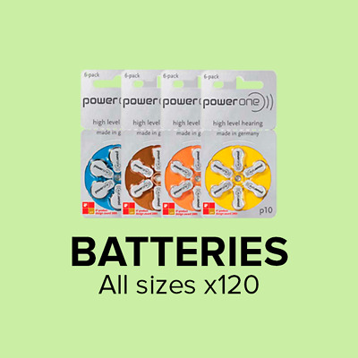 Hearing Aid Batteries - Power One - All Sizes (Box of 120 Cells)