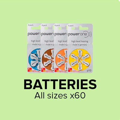 Hearing Aid Batteries - Power One - All Sizes (Box of 60 Cells)