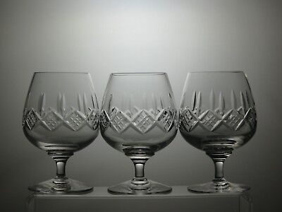 "Stuart Crystal""Glengarry"" Cut 8 Oz Brandy Glasses Set Of 3 - 5"" Tall"