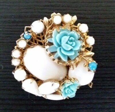 Antique Vintage Jewelry Brooches Pins Victorian Edwardian Roses Rare Milk Glass