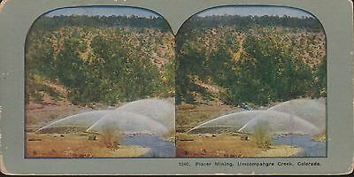 Placer Mining, Uncompahgre Creek Colorado - Coloured Vintage 3D Stereoview Card