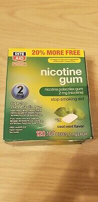Rite Aid Nicotine Gum 2mg Coated Mint Flavor 120 Pieces, EXP 10/2019